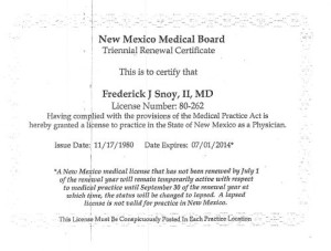 Dr. Snoy's NM State License